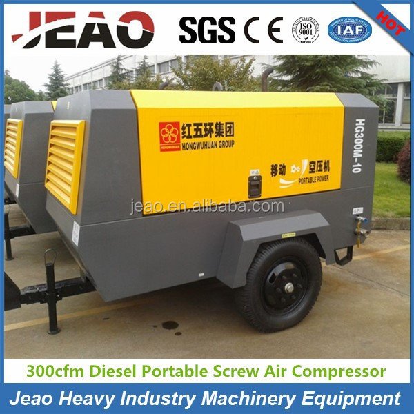300 cfm Diesel Portable Screw Air Compressor / 10Bar Air Compressor for Sand Blasting