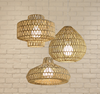 Vintage Industrial Lamp Square Round Rattan