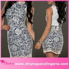Fashion Wholesale White Lace Overlay Two-tone Vintage Dress dear lover