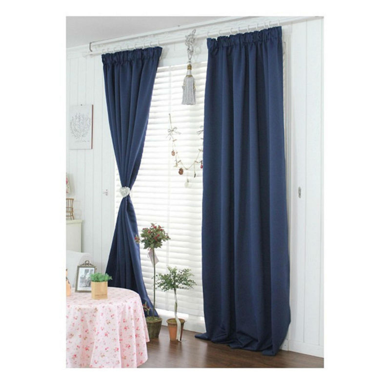 TOP SELL ! 14 hooks pinch pleated 100% polyester indigo blackout fabric curtain