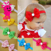 Baby Girl Headband with Rhinestone Bow Infant Girls Hair Bow Rose Bow Headbands Lace Elastic Hairband