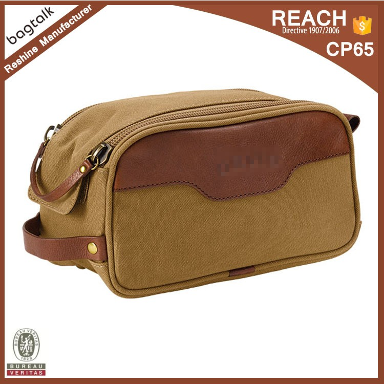 CT869 Custom Brand Canvas Leather Travel Toiletry Bags for Men