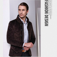 ZHANSHI 2015 Hot Sell New Arrival Men Winter Fashion Stand Collar Flannel Thin Cotton Padded Jacket in Stock