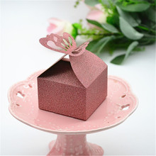 2017 new arrival return gifts laser cut paper cheap butterfly blush color favor box sweet candy container