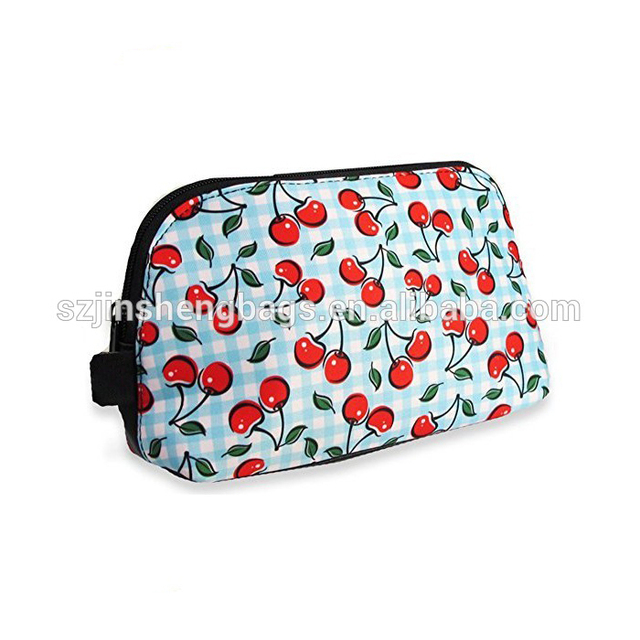 New style mini polyester cosmetic cherry print bag
