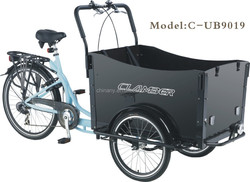 Bakfiets pedal adult front cargo tricycle/cargo trike for baby/family cargobike