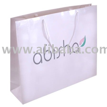 Handymate printed white paper bag