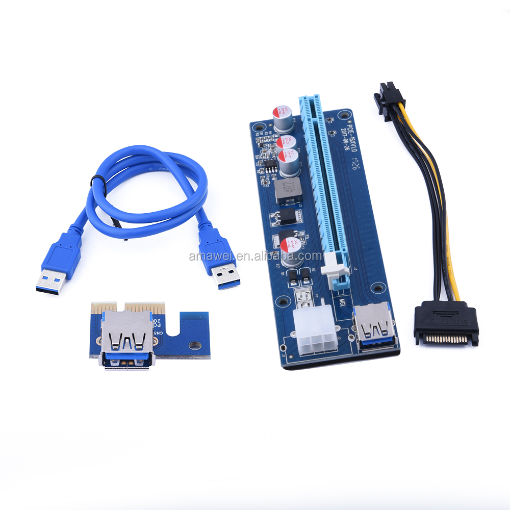 USB3.0 1x to 16x Extender Riser Card Adapter SATA Power Cable PCI-E Express NEW mini pcie to pcie adapter