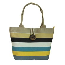 Spanish style blue meshed canvas beach bag, tote beach bag, rope handle beach bag