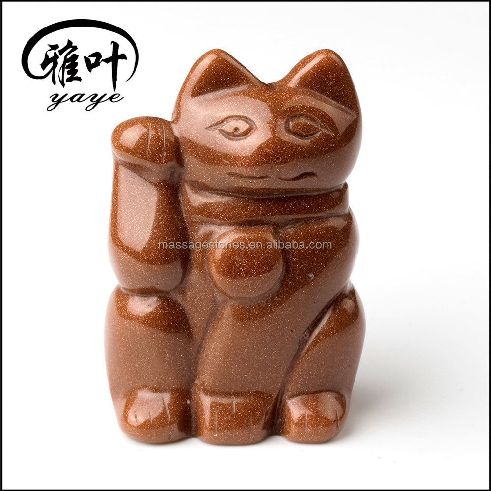 Gemstones Maneki Neko Mascot for Wealth and Luck Home Decoration Factory Outlet