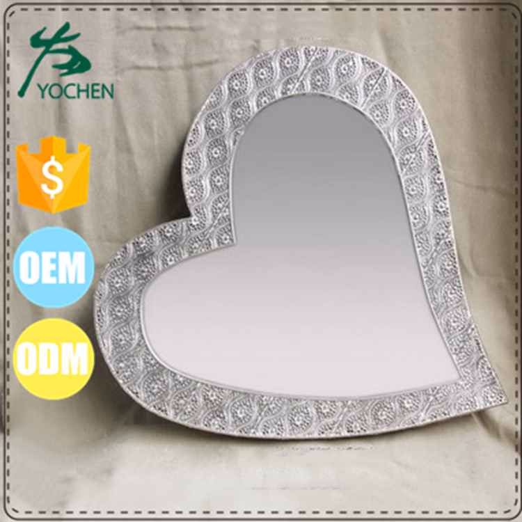 Metal Iron Shiny Silver Heart Shape Wall Mirror