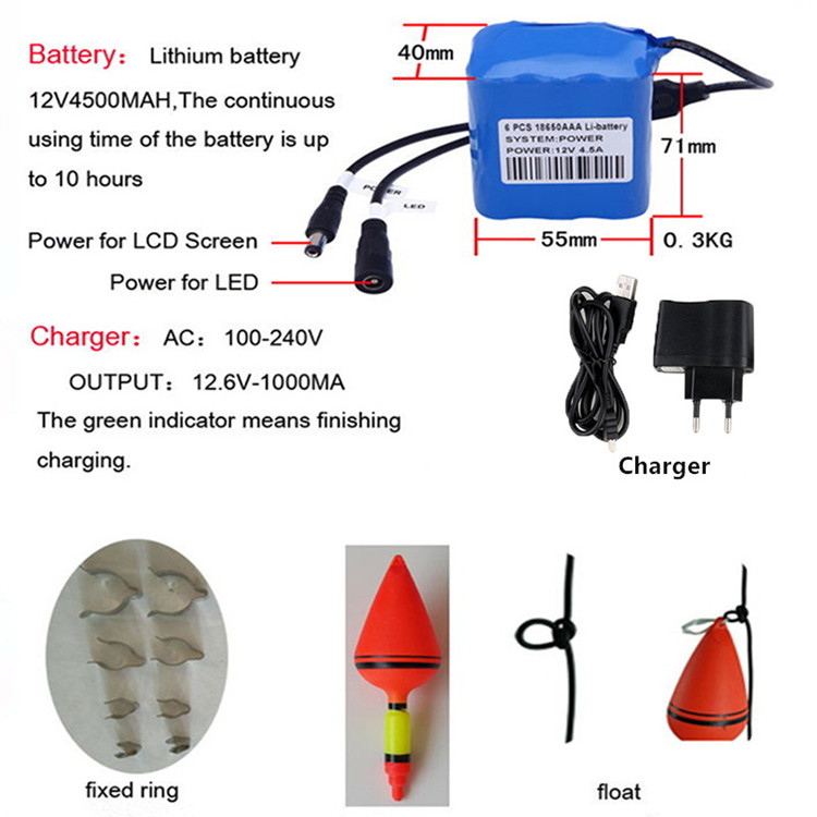 China factory 1000TVL 24 pcs infrared and white lights night vision underwater fishing camera