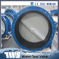 DN1000 Manual Ductile Iron Double Flange Rubber Lined Butterfly Valve 40 Inch