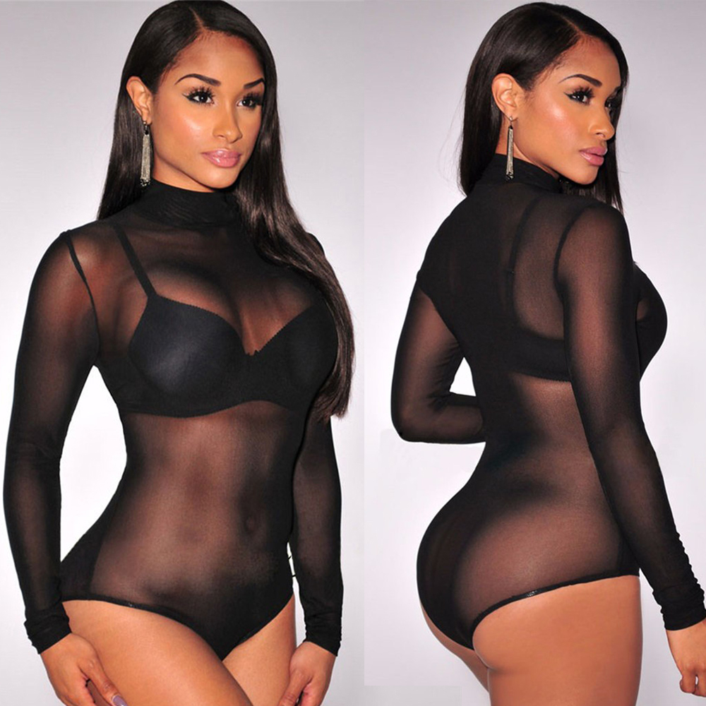 latex Long Sleeve Teddy Women's Top High Collar Transparent Teddy Erotic Lingerie Lace Bodysuits Sexy Sleepwear