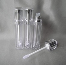 8ML Square Lip Gloss Bottles ,Empty Clear Lip Balm Bottle, 8 ml Oil Bottles With Silicone Lip Flocking Head &Double cover