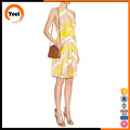 Yellow printed belt office short chiffon pleated dress