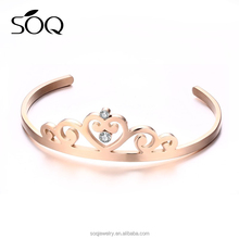 New 2017 latest rose gold stainless steel bangle simple crystal crown cuff bracelet for girl