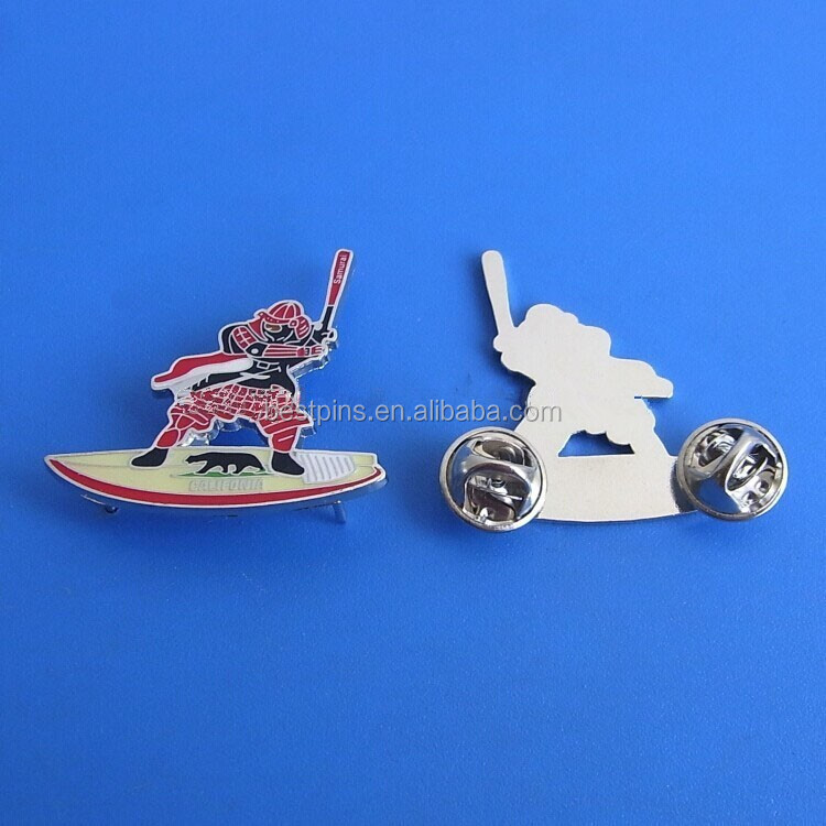 custom athlete play baseball softball lapel pins with butterfly clutch