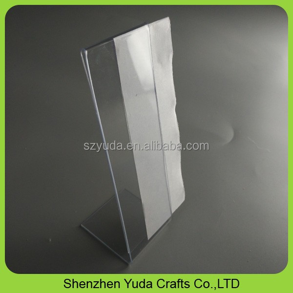 PVC material display holder 2x6 pvc L shaped photo frame