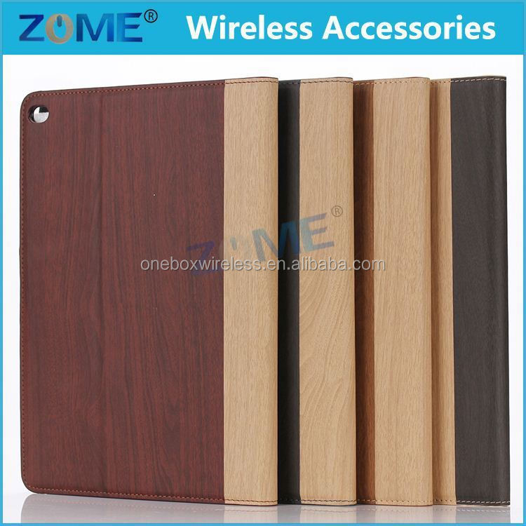 Custom Smart Cellphone Wallet Case for IPad 6 Leather Case New Arrival Wood Design Cover