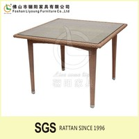 Outdoor Garden Teak PS Polyester Poly Wood Glass top Wooden Furniture Outdoor Dining Table