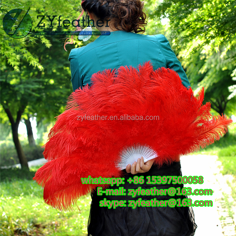 Top selling sexy Handmade cheap price red wedding hand fans 40*75cm
