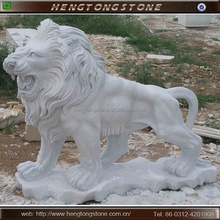 Hand Carved Life Size White Marble Lion Statues for sale