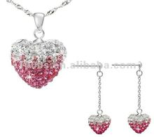 Hot 925silver jewelry set with Austria crystal charm