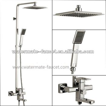 single handle rain shower faucet set with sliding bar