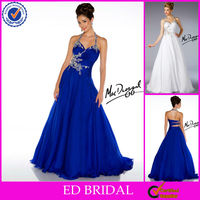 EP64 Latest Cut Out Back Halter Neck Beaded Chiffon Sapphire Prom Dresses
