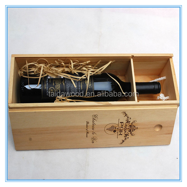Natural Color Solid Wood Gift Boxes One Bottle Pinewood Wine Carrier Wooden Wine Boxes