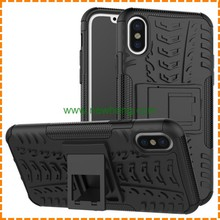 High quality tire grain heavy duty tpu pc Hybrid Kickstand phone case for iphone X
