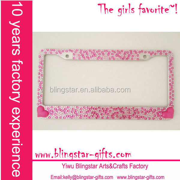 hot pink heart rhinestone bling license plate frames