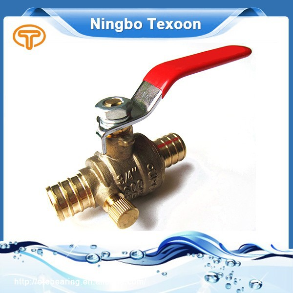 Red handle brass pex fitting valve CUPC NSF61 AB1953 CSA NO LEAD