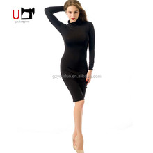 Hot Sexy High Collar Long Sleeve Bandage Paddy Easy Plain Women Photos Without Dress
