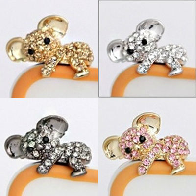 New Crystal Koala Anti Dust Ear Cap For Smart Phone