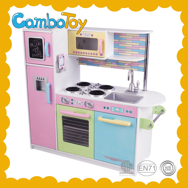 OEM Factory Children Pretend Play Easy Assembly Wooden Kitchen Set Wooden Kitchen Toy
