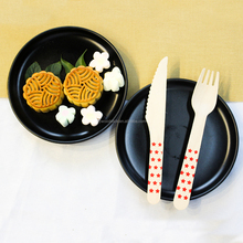 "200 pc set of 6"" Recyclable Eco-Friendly Utensils Wooden Disposable Cutlery for picnics"