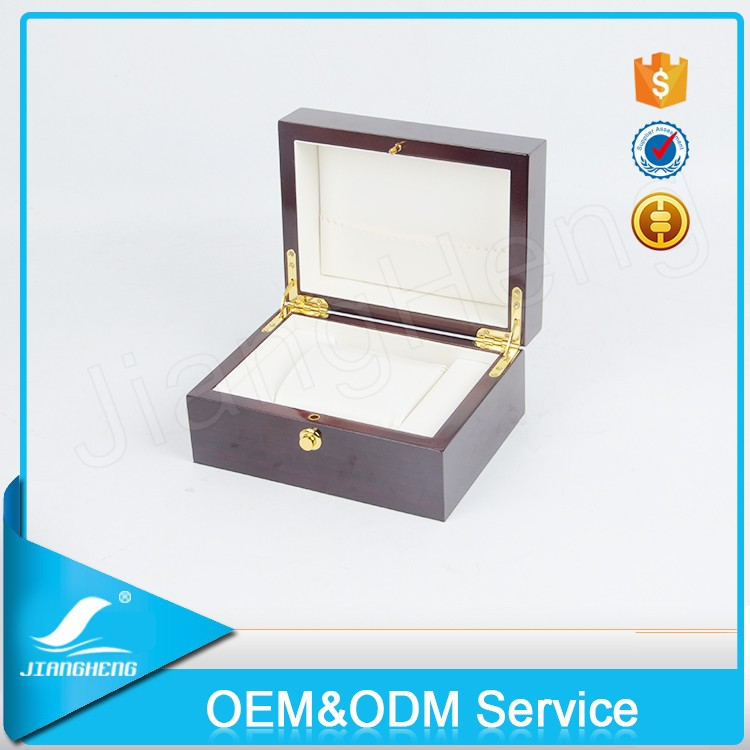 Logo custom printed engraved single wood watch boxes personalized