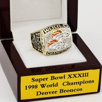 CSR114 NFL 1998 Super Bowl XXXIII Denver Broncos Championship Replica Ring with Wooden Box