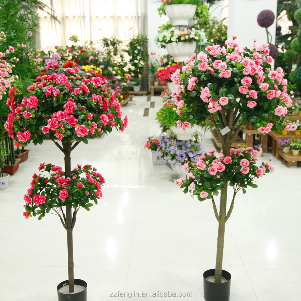 2015 New Design Indoor Decorative Artificial Silk Flowering Trees ...