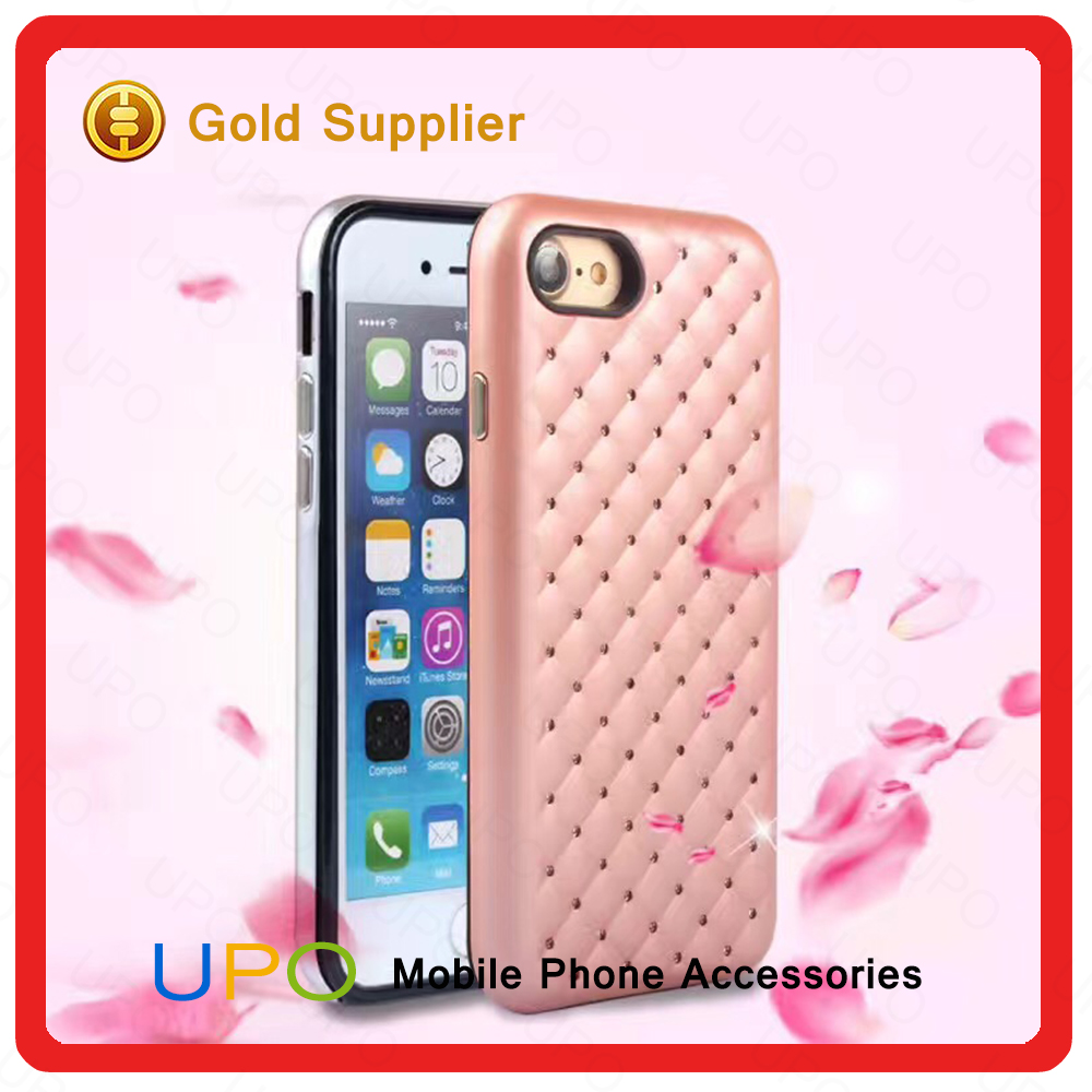 [UPO] luxury 2 in 1 diamond silicone bumper full cover cell phone cover for iphone 6 6 plus 7 7plus