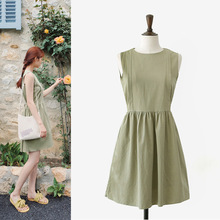 ZH1045E Summer Japan design lady green retro sleeveless bandage dress fashion cotton dress