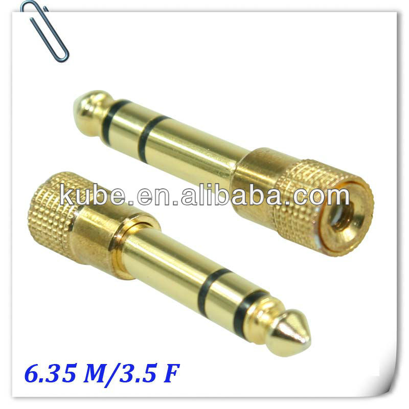 audio connectors 6.35mm stereo plug to 3.5mm stereo jack audio plug