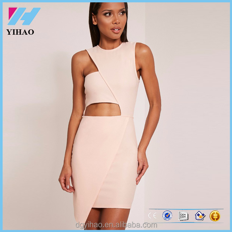 Yihao Nude asymmetric bodycon women clothing sexy dress bodycon womens wear fashion formal dress