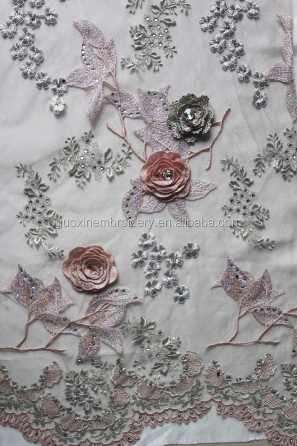 2016 Newest 3D Lace Satin Applique Flower On Fabric Wedding Bridal Dress Lace Design/3D lace/lace fabric 3d