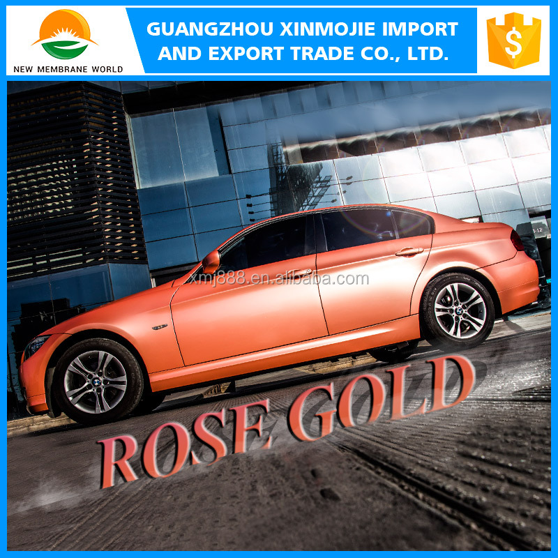 Hot selling 1.52*30m Air Bubble Free Glossy Vinyl Rose Gold Wraps For Car body vinyl film