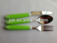 Four pieces stainless steel cutlery sets with crystal plastic handle