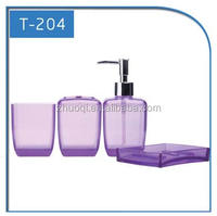 purple 4 PCS plastic bathroom accessories sets