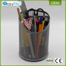 Bevel cup 3 compartment desk organizer metal magnetic wire mesh pen pencil holder